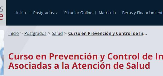 Curso en Prevención y Control de Infecciones Asociadas a la Atención de Salud online